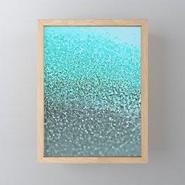 TEAL GLITTER Framed Mini Art Print