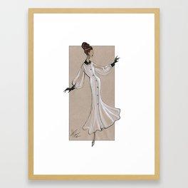 Fashion Illustration - White dress with black cuff & collar Framed Art Print
