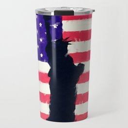 Patriotic American Flag Travel Mug
