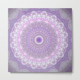 Lavender Purple Lace Mandala Metal Print