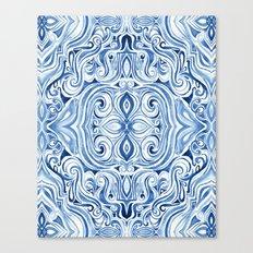 Indigo Blue Watercolor Swirl Pattern Canvas Print