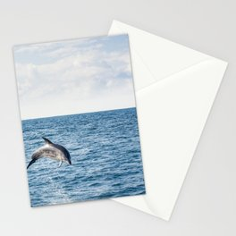 Leaping Wild Dolphin - Retro style illustration Stationery Cards