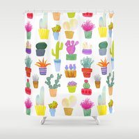 succulents Shower Curtains featuring Succulents by Annelijacobson