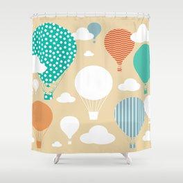 Hot air balloon neutral Shower Curtain