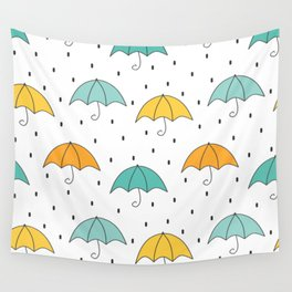 cute cartoon autumn pattern with umbrellas and rain Wall Tapestry