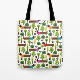 Dachshunds On A Walk In The Park Tote Bag