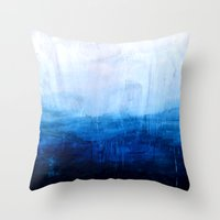 ombre Throw Pillows featuring All good things are wild and free - Ocean Ombre Painting by Prelude Posters
