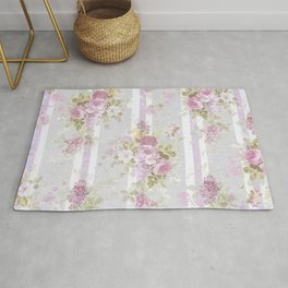 Vintage pink lilac watercolor roses floral stripes pattern Rug