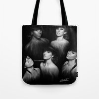 fifth harmony Tote Bags featuring Fifth Harmony 'Reflection' Digital Painting by Emilia Apreda