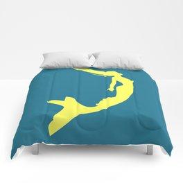 Gold Mermaid Siren Woman On Blue Simple Comforters
