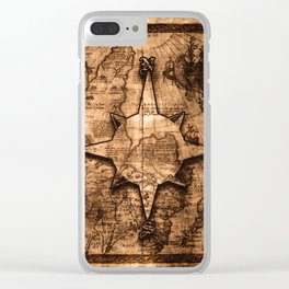 Antique World Map & Compass Rose Clear iPhone Case