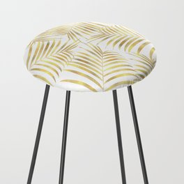 Palm Leaves in Golden Yellow Pattern Counter Stool