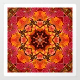 Glowing autumn Juneberry leaves kaleidoscope mandala Art Print