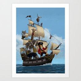 Cartoon Animal Pirate Ship Art Print