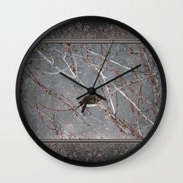 Mourning Dove Asleep in Snowfall Wall Clock