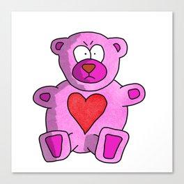 Grumpy Valentine's Teddy Bear Canvas Print