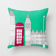 Capital Icons // London Red Telephone Box Throw Pillow