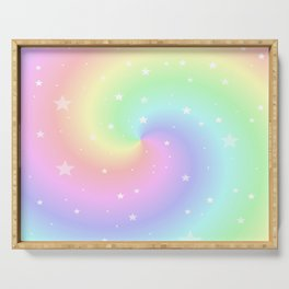 Rainbow Swirls and Stars Serving Tray