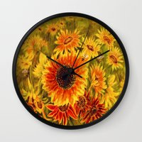 sunflowers Wall Clocks featuring SUNFLOWERS by Vargamari