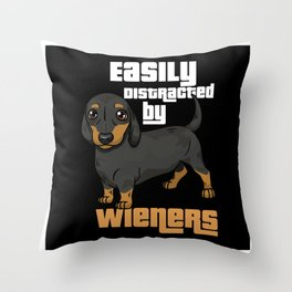 Dachshund Dog Distracted By Viennese Gift Motif Throw Pillow