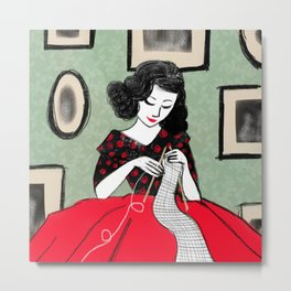Knitting Pretty Metal Print