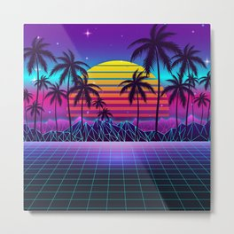 Radiant Sunset Synthwave Metal Print