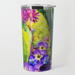 Chartreuse-Violet art Vase Pansies Floral Painting Travel Mug