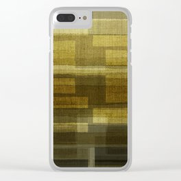 """""""Burlap Texture Greenery Shades"""" Clear iPhone Case"""