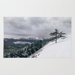 Views of Derwent Water from Latrigg, covered in snow. Cumbria, UK. Rug