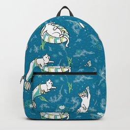 Ocean Aqua Magical Purrmaid Diving Cats Cartoon Backpack