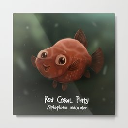 Red Coral Platy Fish Metal Print
