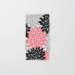 Coral Black Gray Flower Burst Petals Hand & Bath Towel