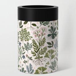 Herbarium ~ vintage inspired botanical art print ~ white Can Cooler