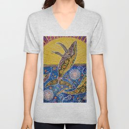 THE WHALES JOURNEY THE AWAKENING  Unisex V-Neck
