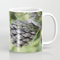 rileigh smirl Mugs featuring Pinecone by Rileigh Smirl