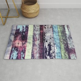 Vintage Reclaimed Wood Boards With Peeling Paint Rug