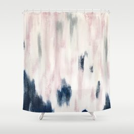 Blush Pink and Blue Pretty Abstract Shower Curtain