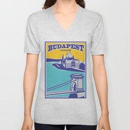 Budapest vintage poster, Chain Bridge Unisex V-Neck