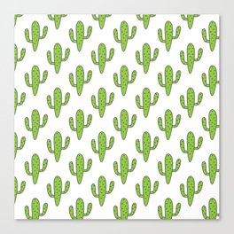 Hand painted green black white floral cactus Canvas Print