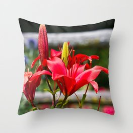 Red Lilies Throw Pillow