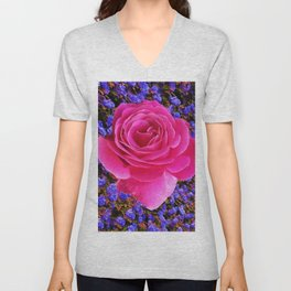CERISE PINK GARDEN ROSE & PURPLE FLOWERS Unisex V-Neck