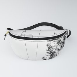 Ski Lift // Black and White Daylight Chairlift Mountain Photograph Fanny Pack