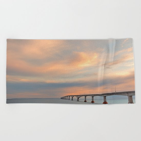 Sunset Sky Bridge Beach Towel