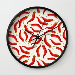 Hot red chili pepper pattern Wall Clock