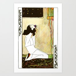 Kneeling Lady for the February Carnaval by Rie Cramer Art Print