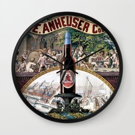 Vintage 1879 St. Louis Anheuser Brewing Lithograph Wall Art Wall Clock