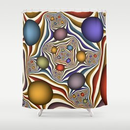Flying Up, Colorful, Modern, Abstract Fractal Art Shower Curtain