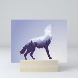 Wolf Double Exposure Surreal Wildlife Animal Wolves Gifts Mini Art Print