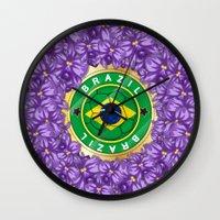 brazil Wall Clocks featuring Football Brazil by mewdew