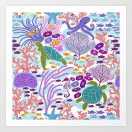 Rush Hour at the Reef - Ocean Life - Sea Life - Marine - beach  Art Print